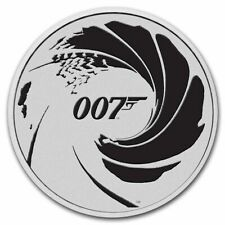 More details for 2022 perth mint tuvalu 007 james bond black 1 oz 9999 fine silver coin pm caps.