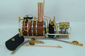 Twin Cylinder Marine Steam Engine With Horizontal boiler+ Tank Q3B Live Steam