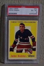 1959 Topps Hockey #31 John Hanna PSA 6 - New York Rangers!  High End