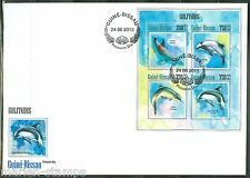 GUINEA BISSAU 2013 DOLPHINS SHEET FIRST DAY COVER