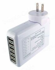 White 4.0A 6 Port USB 20W Portable Travel USA AC Wall Power Plug In Charger - US