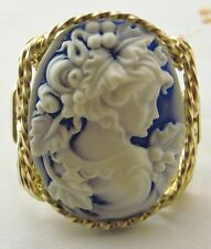 Grecian Goddess Grapes Cameo Ring 14k Rolled Gold