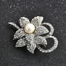 Bling Vintage Silver Imitation Pearl Crystal Flower Brooch Wedding Jewelry Chic