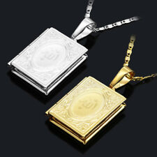 1PCS Women Men Gold Islamic Allah Quran Box Photo Locket Pendant Necklace