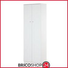 Armadio 2 Ante 180 Bianco con Ripiani Guardaroba Mobile da Ingresso per Ufficio