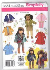 "Simplicity 3551 18"" Doll Sew, Crochet & Knit Winter Sewing Pattern"
