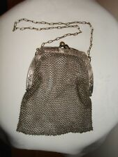 Antique Sterling Silver Ornate Mesh Purse Chain Handbag Wire Woven Germany