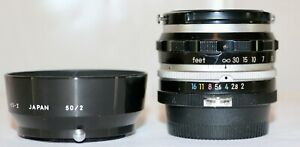 Nikon Nikkor S 5cm f/2  Made In 1961 Nice Condition + HS-2 Lens Hood