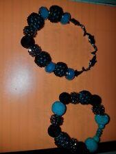 2 Stretchy beaded turquoise black dolphin bracelets handmade