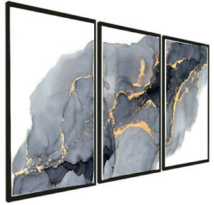A3 Set of 3 Modern Wall Pictures Frame Posters FRAMED Abstract Marble Black