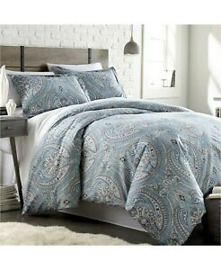 South Shore 3 Piece KING/CAL KING Comforter Set Classic Paisley BLUE 127