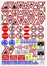 Escala 1:43 Vinilo reflexivo UK carretera signos hoja de calcomanías para los modelos