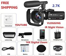 Video Camera 2.7K Camcorder Night Vision Ultra HD Vlogging YouTube Remote Kit