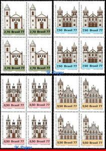1545-48 BRAZIL 1977 RELIGIOUS ARCHITECTURE, CHURCHES, MI# 1637-40, BLOCK  MNH