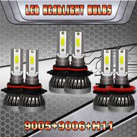 Mini Combo 9006+9005+H11 LED Headlight Kit 600W 90000LM High Low Beam Bulb 6000K