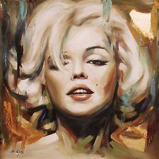 Di CAPRI ORIGINALE dipinto ad olio su tela Marilyn Monroe Ritratto | Black Edition 07
