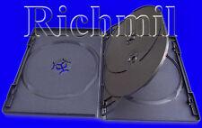 Deux Vierge Noir Multi Media Quad 4-Way Disque étui 2 Boitier CD DVD Blu-ray