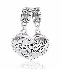 Madre e hija Mamá Corazón S925 plata esterlina pulsera con dijes Europea se ajusta