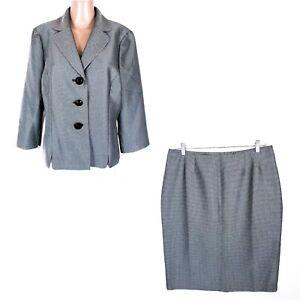 Le Suit Women Skirt Sets Granade Black Ivory 2pc Size 14 - NWT