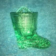 """4"""" GREEN HANGING GLASS BOOT SHOE MATCH HOLDER W/ STRIKER TOOTHPICKS"""