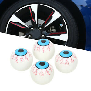 Car Wheel Tire Tyre Airtight Air Valve Stem Caps Eyeball Design Style White 4x