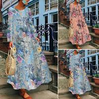 ZANZEA 8-24 Women Long Sleeve Maxi Dress Printed Floral Abaya Kaftan Caftan NEW