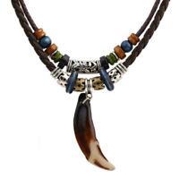 Herren Böhmen Wolf Zahn Anhänger Leder Perlen Halskette Geschenke Schmuck N H2J7