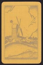 1 Single VINTAGE Swap/Playing Card DUTCH WINDMILL & SHEEP Yellow/Gold