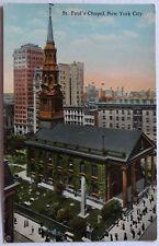 St. Paul Chapel Broadway New York City 1911 Postcard -f053bl