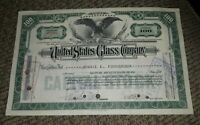 STOCK CERTIFICATE 100 Shares US UNITED STATES GLASS COMPANY CO Pennsylvania OLD!
