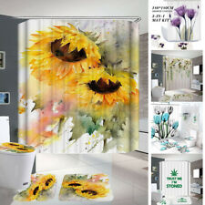 4Pcs/Set Flower Shower Curtain Plant Bathroom Anti-slip Carpet Rug Toilet
