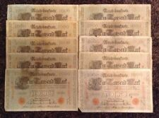 Lote de 10 billetes X Alemania. 1000 Mark. fechada 1910. Reichsbanknote. sello Rojo.