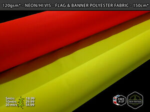 4oz/120gsm* - HI VIS NEON YELLOW & ORANGE - POLYESTER BANNER FLAG FABRIC - 155cm