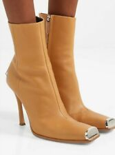 CALVIN KLEIN 205W39NYC Wilamiona metal-trimmed brown leather boots UK 7 EU 40