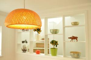 Handmade Rattan Pendant Ceiling Lampshade, Hemisphere Dome Shape, Brown, L001L