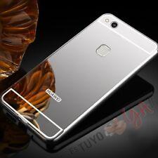 Funda espejo para Huawei P10 Lite marco en Aluminio carcasa trasera color Plata