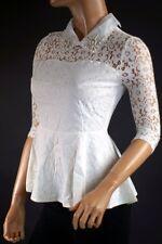 ESPRIT CHIC  - Top haut femme basque dentelle col chemise et perles (M/L-38/40)
