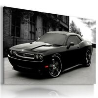 DODGE CHALLENGER BLACK Sports Cars Wall Art Canvas Picture LARGE AU689 MATAGA .