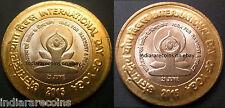 India Lettering Variety Bimetallic BIMETAL Yoga Day Coin Set 10 Rs Unc NEW 2015