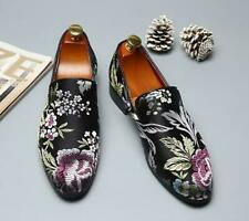 Mens Slip on Pointy Toe Embroidery Casual Chinese Low Top Leisure Loafers Shoes