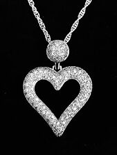 Cubic Zirconia Heart Pendant Necklace .925 Sterling Silver Pave Heart Necklace