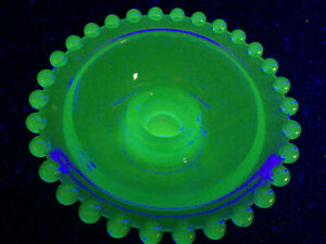 "Blue Vaseline glass candlewick pattern Candle holder uranium bowl cobalt glow 4"""