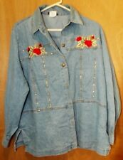 Gepetto Ladies Embroidered Red Rose Studded Jean Shirt Size L 100% Cotton