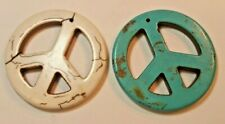 2 pc. Resin Peace Signs, Cream and Teal Color, 1 3/4 inch A-A358