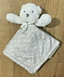 Blankets & Beyond Gray White Satin Bow Bear Dots Lovey Baby Security Blanket NEW