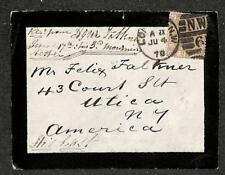 ENGLAND TO USA SCOTT #67 STAMP PLATE 10 MOURNING COVER 1878