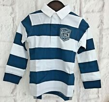 Gocco Boys Polo Shirt Age 3-4 yrs Toddler L/S Top Stripe Teal 100% Cotton NEW