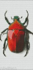 Red Beetle Peyote Cuff Beaded Bracelet Pattern by Karen Zumbrun