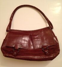 MAXX NEW YORK-Leather Purse/Handbag-Red/Brown Alligator/Croc Style-100%AUTHENTIC