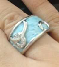 Sterling Silver & Leather Ring/Band Size 8 Blue Color